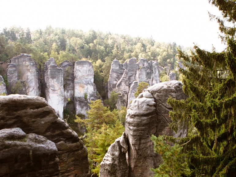 The Prachov Rocks with children, Photo of prachov rocks in Bohemian paradise, Czech republic