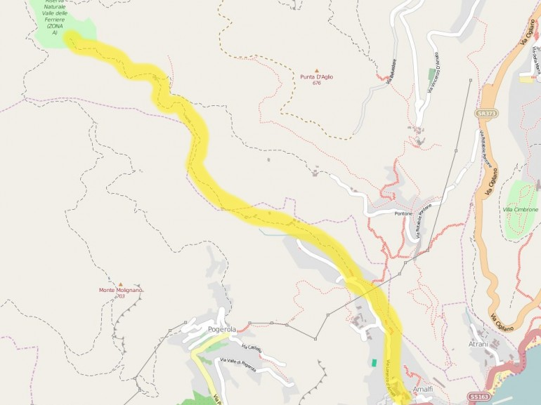 Map of the Valle delle Ferriere itinerary, from Amalfi to the Natural Reserve.