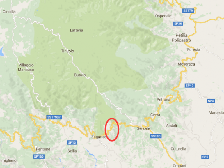 Itinerary's map Rupe Waterfall, Calabria