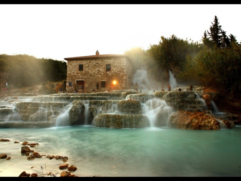 The natural pools of Saturnia made by small waterfalls