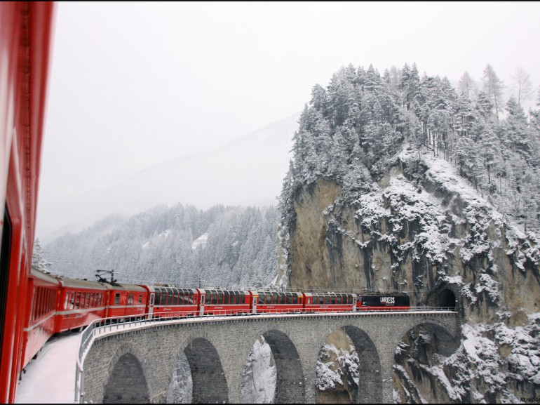 One of most beautiful bridges of the path of Glacier Express