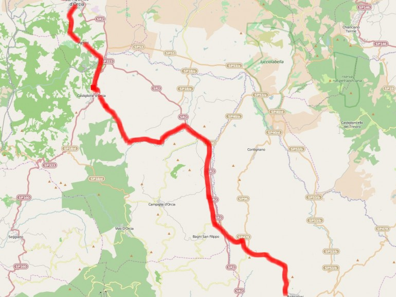 Map of the itinerary from San Quirico d'Orcia to Radicofani, Tuscany, following the via Francigena route