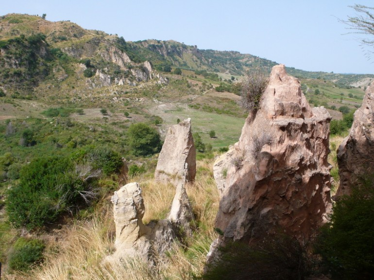 Natural Pinnacles  along the route to the Canyon of Timpe Rosse, one of the most beautiful canyons in Calabria, Italy