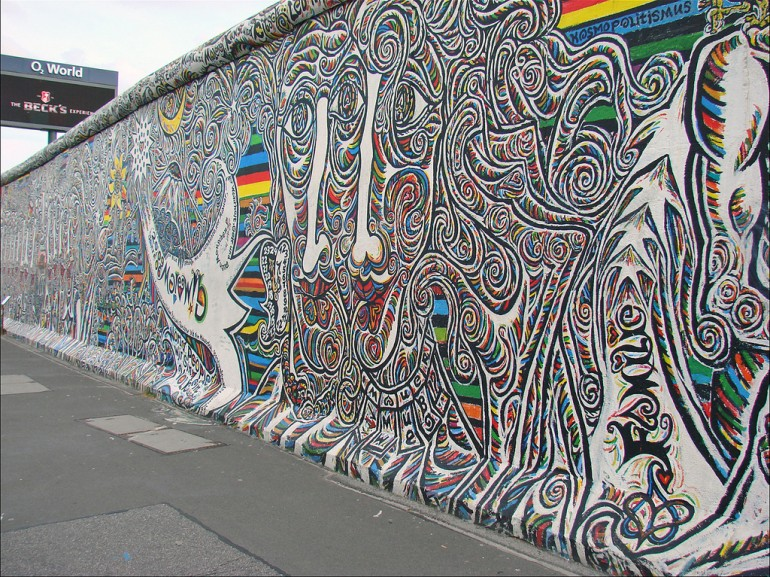 Murals on the Berlin Wall in East Side Gallery