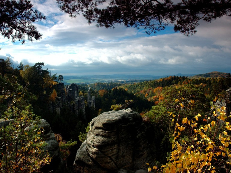 Photo of Prachov Rocks with children, Photo from Bohemian Paradise in Czech Republic from up.