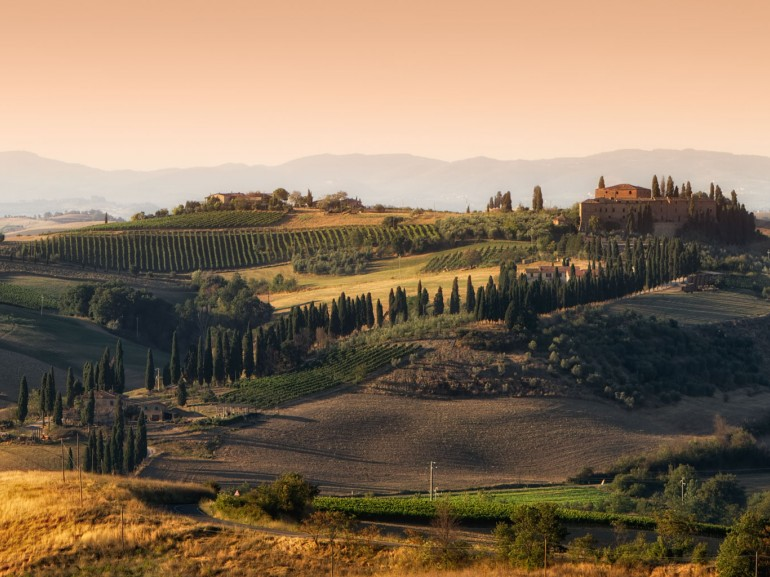 Near the town of  San Quirico d'Orcia in the region and UNESCO World Heritage Site of Val d'Orcia in Tuscany, Italy.