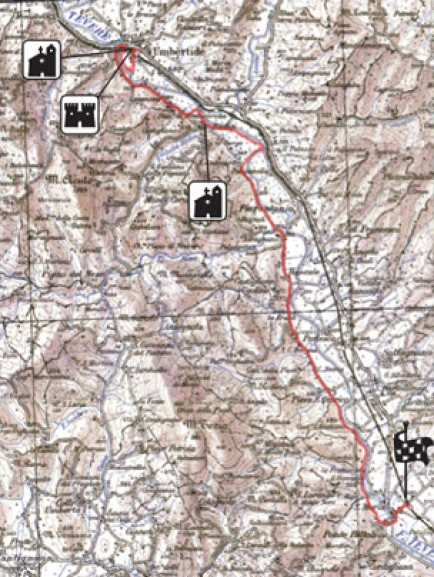 Map of the cycle tour in the fable forests of Umbria