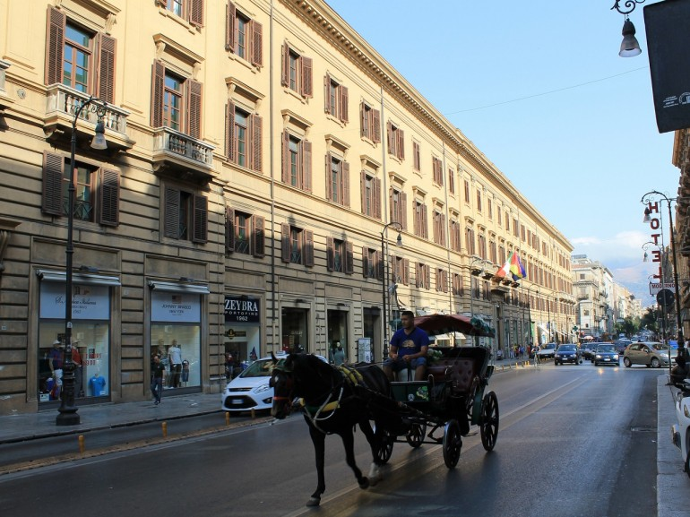 Palermo street view by horse-drawn