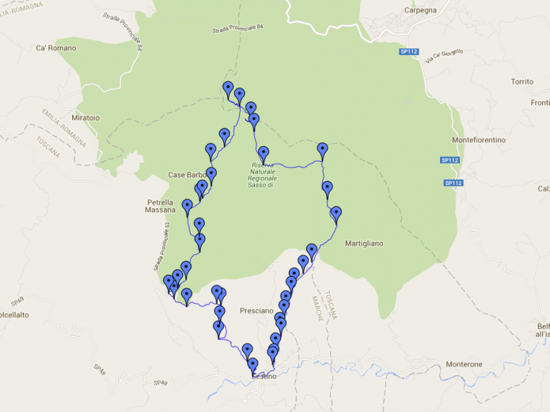 Map of the itinerary in the Natural Park of Sasso Simone e Simoncello starting from Sestino