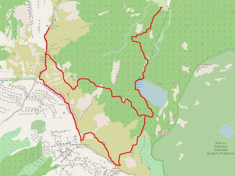 The map of the route between the lakes