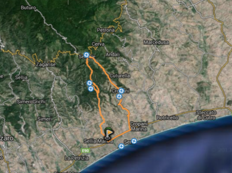 Map of the itinerary that leads us from the Canyon of Valli Cupe to Marcaglione village