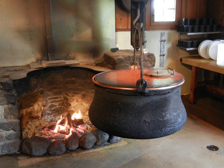 big pot on the fire to make cheese