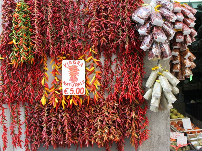 Red chili in a market stall in the old town of Amalfi.
