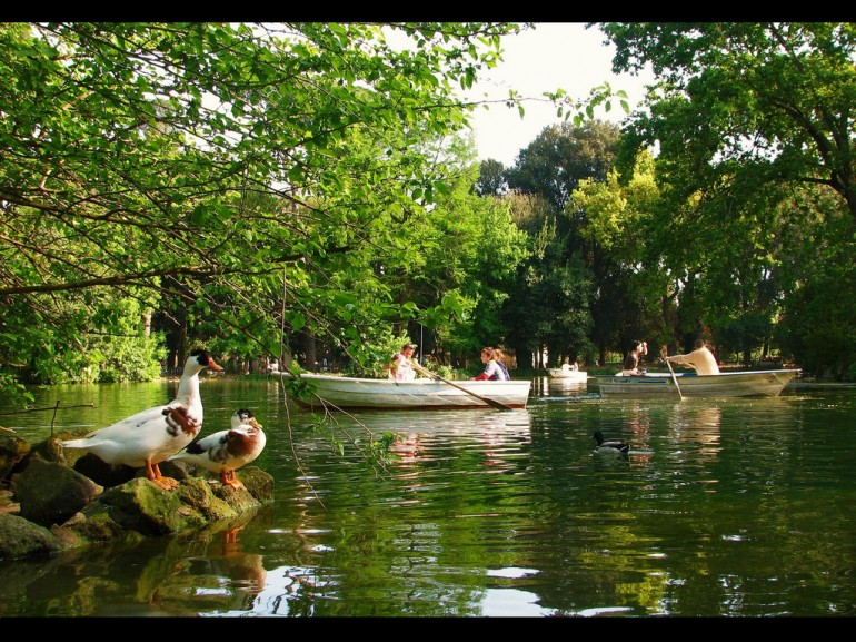 Villa Borghese,  the largest public park in Rome, with its lake, temples, fountains, statues and several museums.