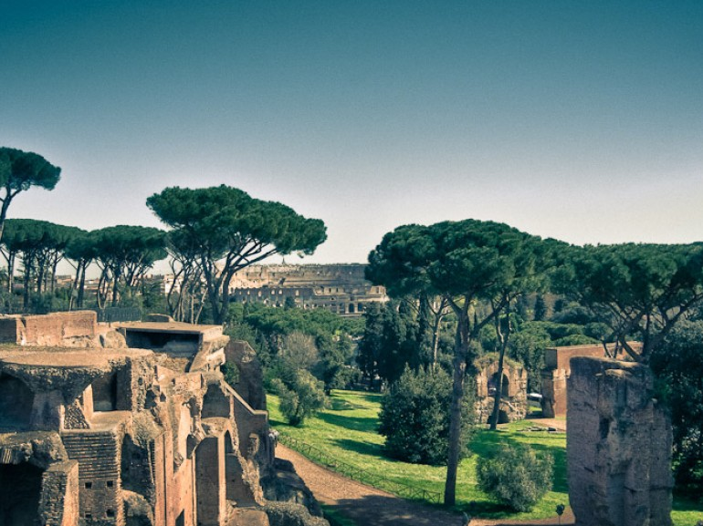 Palatino and Colosseum in Rome, surrounded by green
