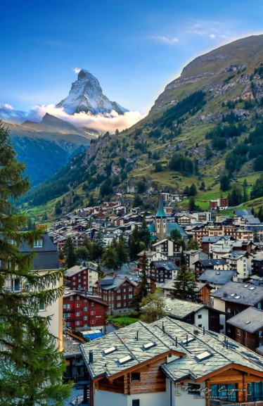 Zermatt and the peak of Matterhorn