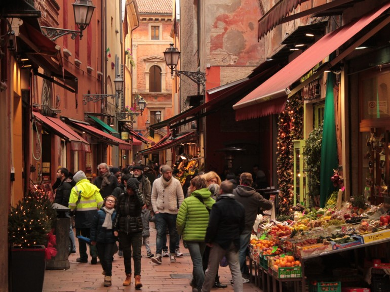 The narrow streets with assorted banquets of seasonal fruits