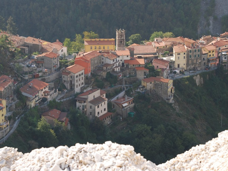 The small village of Colonnata, Massa Carrara, Tuscany, famous for its bacon, photographed from a marble quarry.