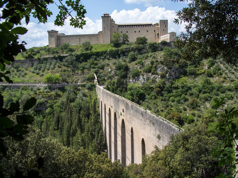Rocca and the Ponte delle Torri, the entrance into Spoleto photo by Andrew Moore via Flickr