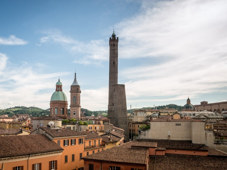 Bologna, Asinelli tower and St Bartolomeo and Gaetano church