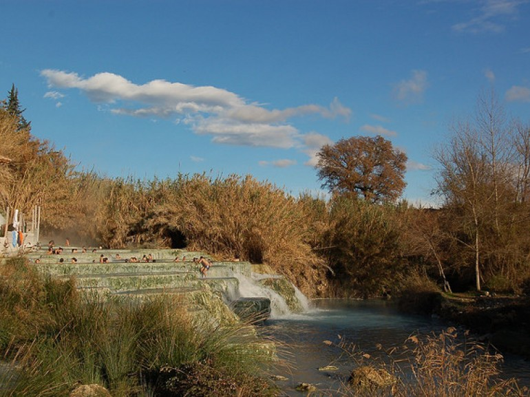 The waterfalls at the Saturnia Natural spa, photo by Claudio Manenti via Flickr