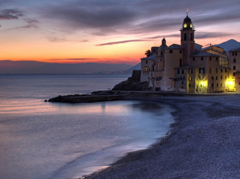 View of Camogli from the beach, picture made at the dusk