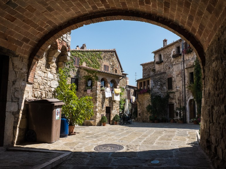An alley of Montemerano, nice medieval village of the Tuscan Maremma