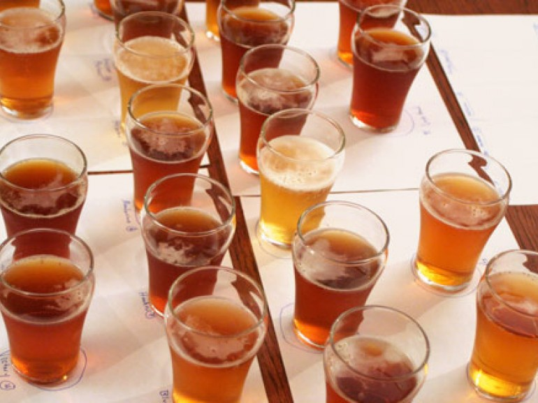 glasses of beer on a table