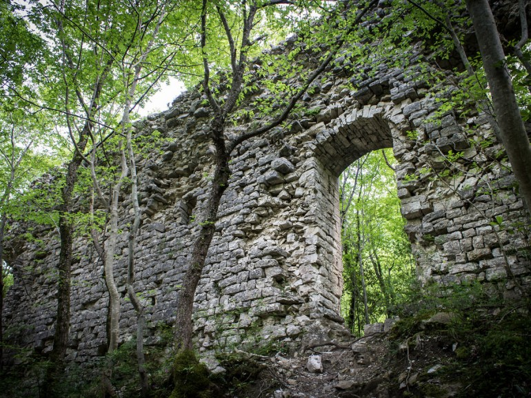 The ruins of the Hermitage of Santa Maria in Morimondo, now part of the woods