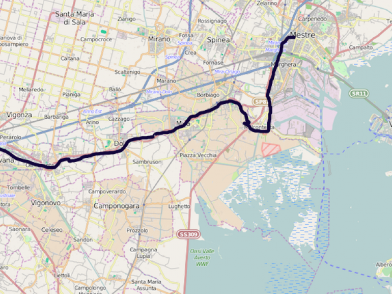 Map From Padua to Venice by bike