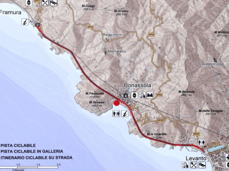 Map to the path from Levanto to Bonassola (Liguria, Italy). It's a very simple and well marked path, also ideal for families with children.