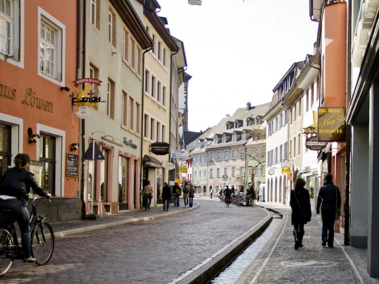 A street of Freiburg with a characteristic bächle