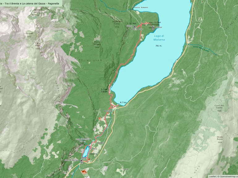 Map of the itinerary on foot from Lake Nembia to Lake Molveno