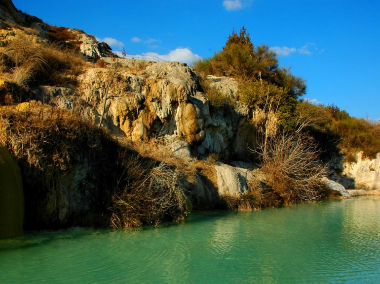 Natural hot spring where you can have a free bath in Bagno Vignoni, Tuscany