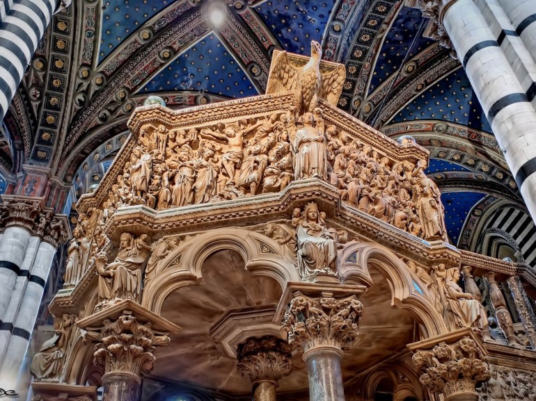 This marble pulpit in the Duomo of Siena was carved by Nicola Pisano in 1268