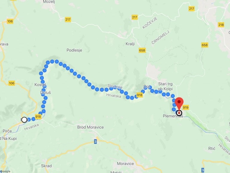 Map of the itinerary following the river Kulpa - by Google Maps