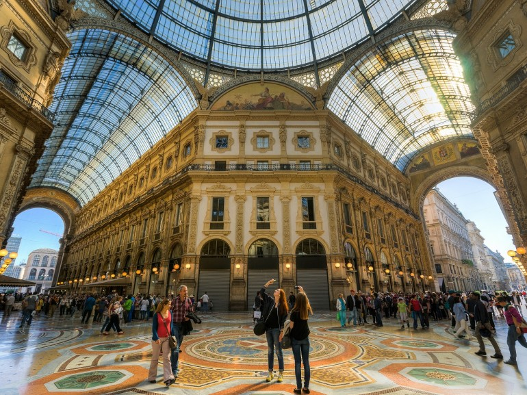 The Vittorio Emanuele II gallery is an architectural work of art nouveau