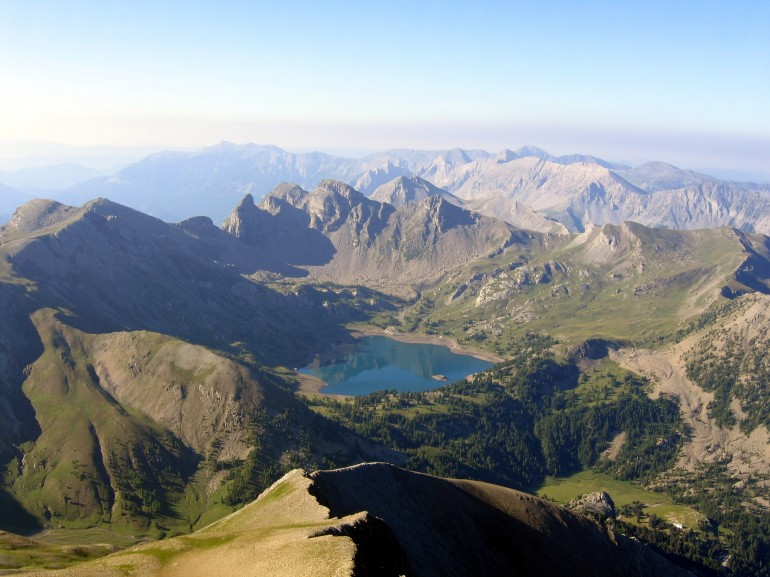 Lac d'Allos as seen from Mont Pelat, itinerary in Mercantour Park, France