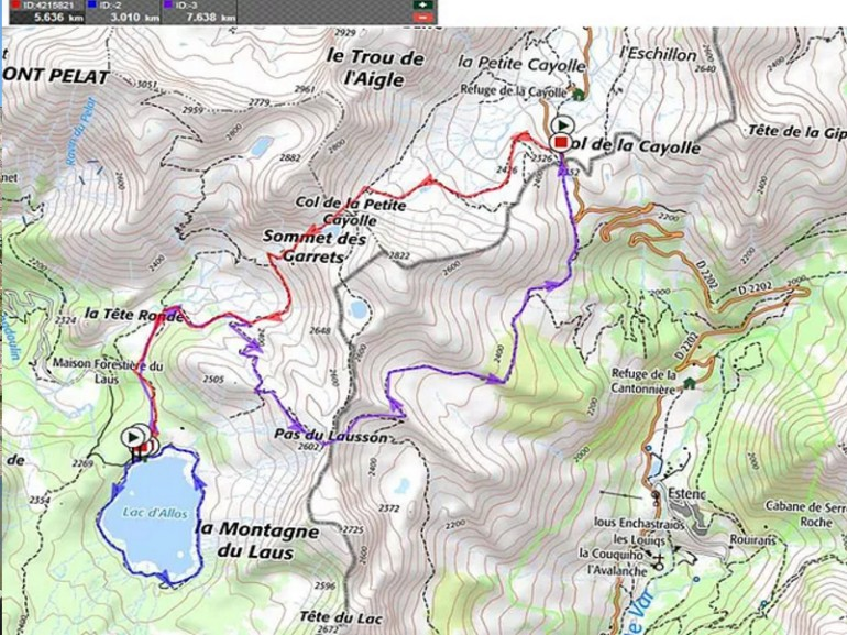 Itinerary to the lake d'Allos.