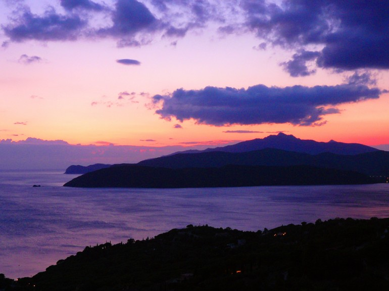 Sunset in the Isle of Elba, a green oasis with tuscan arcipelago