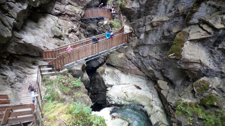 Suspension bridges between the stone walls of the Stanghe Falls, photo by S. Ombellini