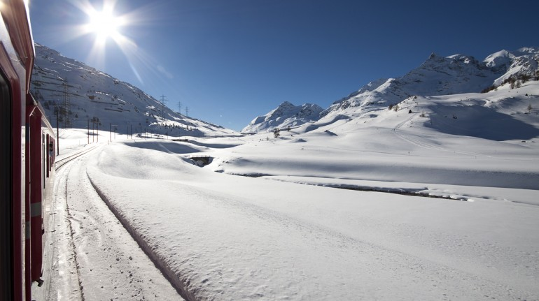 Bernina pass covered by the snow