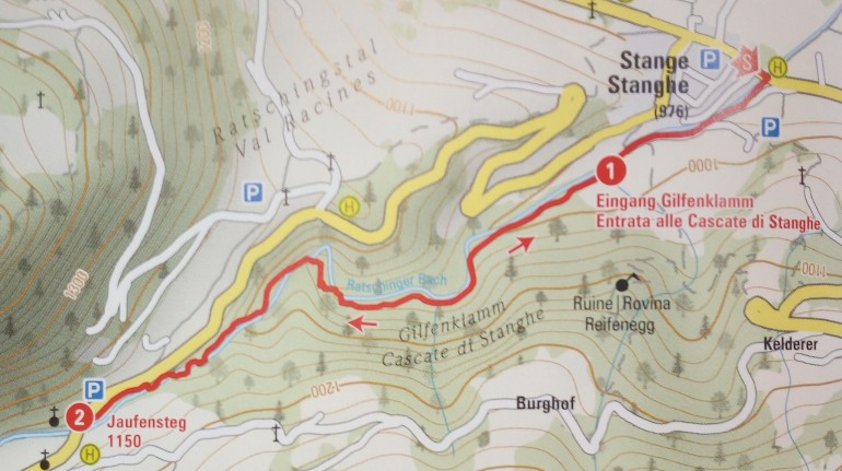 Map: itinerary to discover the Stanghe Falls